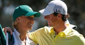Rory McIlroy and Caroline Wozniacki in Augusta in April 2013. Photograph: Reuters/Mike Segar