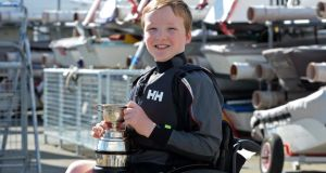 Óisín Putt, current holder of a trophy for participating in the access summer sailing programme, at the Royal St George Yacht Club, at Dún Laoghaire, Co Dublin. Photograph: Eric Luke