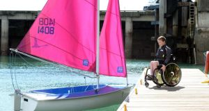 Óisín Putt, who has spina bifida, takes full advantage of the Access sailing programme in Dún Laoghaire, Co Dublin. Photograph: Eric Luke