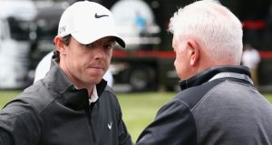 Rory McIlroy  speaking with his father Gerry  during the Pro-Am ahead of the BMW PGA Championship at Wentworth . Photograph:  Ian Walton/Getty Images