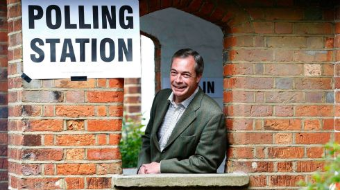 Nigel Farage, leader of Britain's United Kingdom Independence Party (Ukip), poses as he arrives to vote in local and European elections at a polling station in Biggin Hill on the outskirts of London on May 22nd, 2014. Photograph: Andrew Winning/Reuters