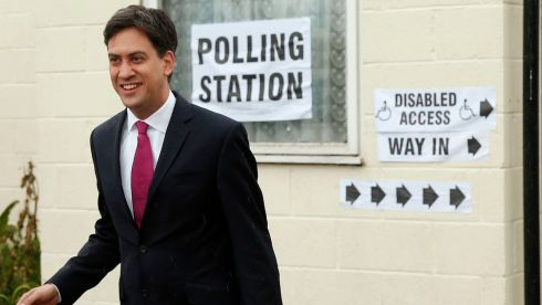 Leader of the British opposition Labour Party, Ed Miliband, smiles after voting in the local council and European elections at a polling station in the village of Sutton, near Doncaster in northern England. Photograph: Phil Noble/Reuters