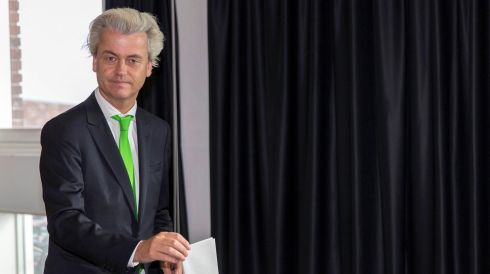 Far-right politician Geert Wilders of the anti-immigration Dutch Freedom (PVV) Party casts his vote during the European Parliament elections, in an elementary school in the Hague. Photograph: Michael Kooren/Reuters