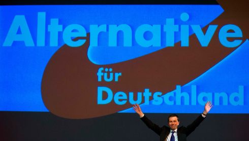 The leader of Germany's eurosceptic party Alternative for Germany (AfD) Bernd Lucke waves to supporters during an election campaign event. Photograph: Thomas Peter/Reuters