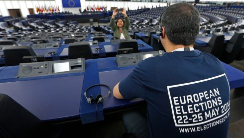 Tthe plenary room of the European Parliament ahead of the elections. Photograph: Vincent Kessler/Reuters