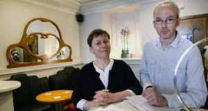 Judges Anne Enright and Jon McGregor in Davy Byrnes, Dublin. Photograph: Brenda Fitzsimons