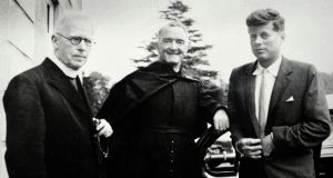 Fr Joseph Leonard, Fr William Purcell and future US president John F Kennedy at All Hallows College in September 1955. Photograph: Aidan Crawley