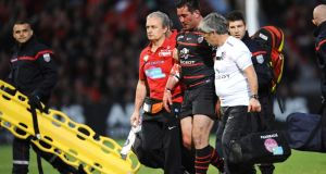 Toulouse centre Florian Fritz leaves the pitch after he was injured during the Top 14 quarter-final rugby union match against  Racing Metro earlier this month. He was allowed to return to the game. Photograph: Getty Images