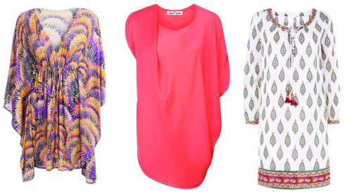 Orange and purple kaftan, €280, Melissa Odabash Kelli at Brown Thomas Coral Asymmetrical Tunic, €129, Fran and Jane Cotton Beach Tunic, €94, East at Clerys