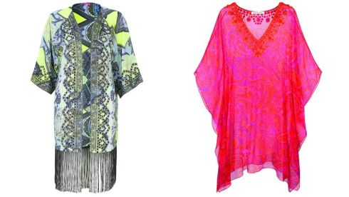 Fringed Kaftan, €45, River Island Fuchsia Pink Embroidered Silk Dara Kaftan, €1295, Louise Kennedy