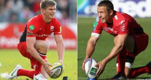 England outhalves past and present will meet in form of Saracens' Owen Farrell, left, and Jonny Wilkinson of Toulon when the two clubs meet in this afternoon's Heineken cup final in Cardiff.  Photographs: David Rogers/Getty Images