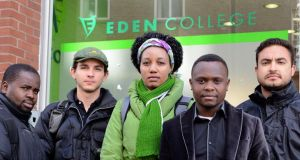 Students from Eden College pictured outside the language school which recently closed owing €1.4 million to creditors. From left: Patrick Kashanga, Malawi; Bruno Francio, Brazil; Neo Odirile, Botswana; Innocent Kwerani, Malawi; Eduardo Cardoso, Brazil. Photograph: Dave Meehan/The Irish Times