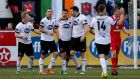 Dundalk's Patrick Hoban  celebrates  his side's third goal with team-mates. Photograph: Donall Farmer/Inpho