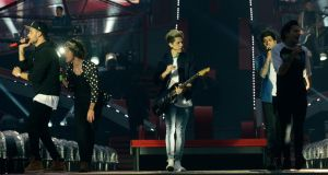 One Direction, with Niall Horan front and centre, performing in Croke Park last night for the first of three sold-out concerts. Photograph: Dave Meehan