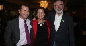 From left: Paul Donnelly, Mary Lou McDonald and Gerry Adams of Sinn Féin at the Dublin West by-election count in  the Citywest Hotel in Dublin. Photograph: Niall Carson/PA Wire