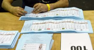 The count underway at the RDS Ballsbridge, Dublin, yesterday. Photograph: Eric Luke/The Irish Times