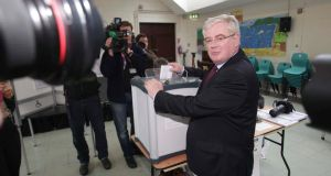 Labour Party Leader, Tánaiste Eamon Gilmore pictured casting his vote at Scoil Mhuire, Shanganagh Rd, Shankill, Co Dublin. Photograph: Collins Agency