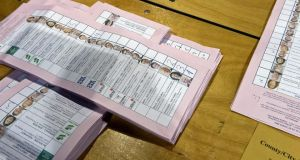 Ballot papers for Dublin city council  at RDS count centre at Ballsbridge in Dublin. The last of the 63 seats were filled this evening.  Photograph: Eric Luke/The Irish Times