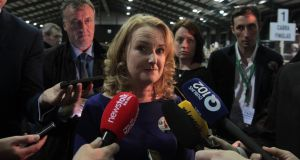 Fianna Fáil European candidate Mary Fitzpatrick speaks to reporters as counting begins in  count centre at the RDS in Dublin. Photograph: PA