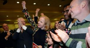 Ruth Coppinger celebrates with her daughter Sarah Siddiq, family and supporters as she is elected in the Dublin West constituency byelection. Photograph: Dave Meehan