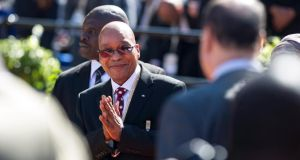 South African president Jacob Zuma arrives at his inauguration in Pretoria. Photograph: EPA/Mujahid Safodien