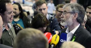 Sinn Fein leader Gerry Adams at the Dublin City Count and European Count, in the RDS Ballsbridge, Dublin, today. Photograph: Eric Luke / The Irish Times