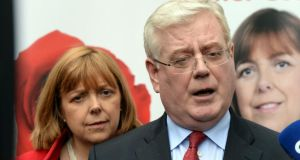Labour Party leader Eamon Gilmore with European election candidate Emer Costello:  the party's candidates are beaten dockets in the three Euro constituencies. Photograph: Cyril Byrne