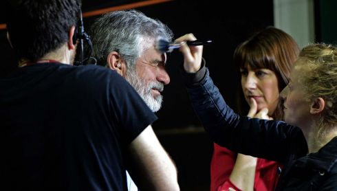 Sinn Féin leader Gerry Adams has make-up applied for a television interview at the Dublin City Count and European Count, at the RDS Ballsbridge, Dublin. Photograph:  Eric Luke  /  The Irish Times