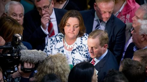Fine Gael's Cllr Gabrielle McFadden with Taoiseach Enda Kenny after being elected in Longford. Photograph: Barry Cronin
