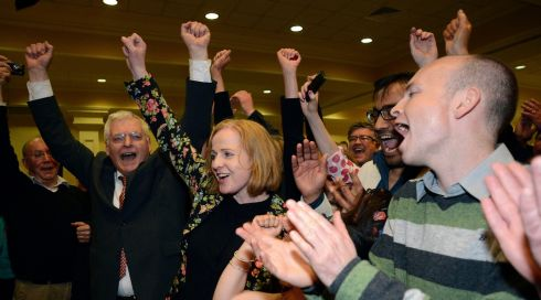 Family and supporters of Ruth Coppinger celebrate as she is elected in the Dublin West constituency byelection. Photograph: Dave Meehan