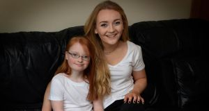 Rebecca Bradley (18) with her sister Makayla at home in Dublin. Photograph: David Sleator