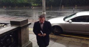 Alan Kelly arriving at Iveagh House for today's meeting of Labour ministers with Eamon Gilmore. Photograph: Fiach Kelly/The Irish Times