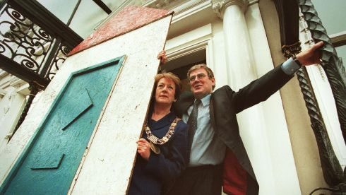 Then lord mayor of Dublin Cllr Mary Freehill and Labour TD Eamon Gilmore  at the Mansion House to launch details of the National Housing Rally in July 2000. The rally aimed to draw attention to the housing crisis, especially for the homeless. Photograph: Frank Miller/The Irish Times