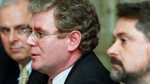 Then Democratic Left TD Eamon Gilmore with Brendan Howlin TD, deputy leader of the Labour Party, announcing details of the merger between the two parties in Dublin in 1999.
