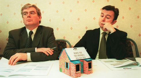 Eamon Gilmore, then the Labour Party spokesperson on housing and Mr Brian Hayes, Fine Gael spokesperson on housing, at a press conference  to launch the National Youth Council of Ireland report on housing in April 2000. Photograph: Frank Miller/The Irish Times