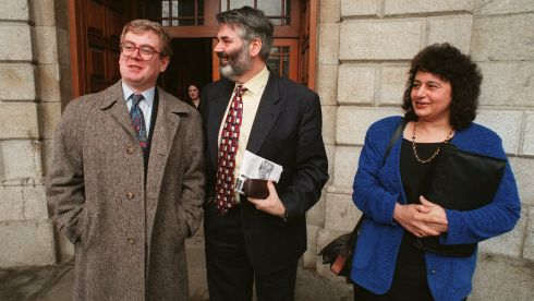 Minister for Social Welfare Proinsias De Rossa with Minister of State at the Department of Marine Mr Eamon Gilmore and Ms Roisin Callender, adviser to Mr De Rossa , at the High Court in Dublin in February 1997. Photograph: Frank Miller/The Irish Times