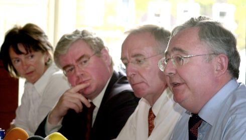 Pat Rabbitte (right), then leader of the Labour Party, with European and local election candidates  including Lettie McCarthy, director of elections  Eamon Gilmore, and Peter Cassells during campaigning in June 2004. Photograph: Cyril Byrne/The Irish Times