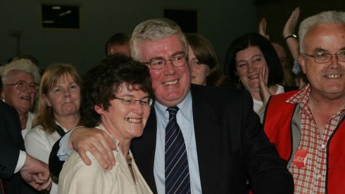 Eamon Gilmore celebrating with his wife Carol Hanney after he was elected in the general election at the count in Loughlinstown Leisure Centre on May 25th, 2007. Photograph: Cyril Byrne/The Irish Times