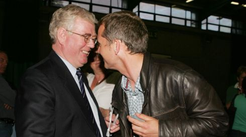 Eamon Gilmore with Richard Boyd Barrett of People Before Profit at the count at Loughlinstown Leisure Centre on election night, May 25th, 2007. Photograph: Cyril Byrne/The Irish Times