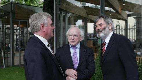 Eamon Gilmore, Michael D Higgins and Prionsais de Rossa at the Dail in June 2007. Photograph: Cyril Byrne/The Irish Times