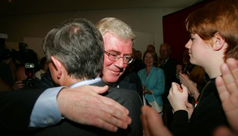 Eamon Gilmore is congratulated after being confirmed as Labour leader in September 2007. Photograph: Kate Geraghty/The Irish Times
