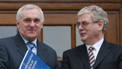Then taoiseach Bertie Ahern (Fianna Fail) and Eamon Gilmore (Labour) at a photocall at Government Buildings, supporting the EU Reform Treaty Bill on March 6th, 2008. Photograph: Niall Carson/PA Wire