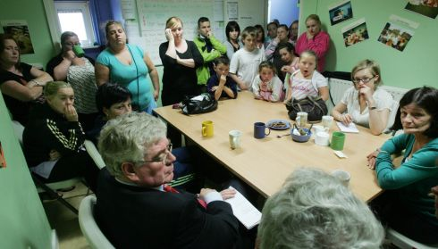 Eamon Gilmore meets residents of O'Devaney Gardens in Dublin in July 2008. Photograph: Cyril Byrne/The Irish Times