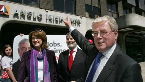 At the launch of Labour's 10-point plan on banking reform and job creation outside Anglo Irish Bank on St Stephen's Green in May 2009.