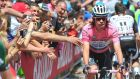 Race leader  Rigoberto Uran of the Omega Pharma Quick Step would appear to be at an advantage in today's stage of the Giro d'Italia, which includes three major climbs, as he and his fellow Colombians are  more accustomed to riding at altitude. Photograph:  Luca Zennaro/EPA