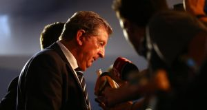 England manager Roy Hodgson speaks to  the media after the final draw for the  World Cup  at Costa do Sauipe Resort last December. Photograph:  Clive Mason/Getty