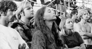 People listening to the music at Woodstock. Photograph: Three Lions/Getty Images