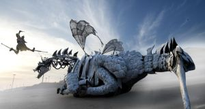 "Street spectacle show ""Dragonus"" by Compagnie Malabar from France will take to the streets of Galway with a monumental moving dragon   during Galway International Arts Festival"
