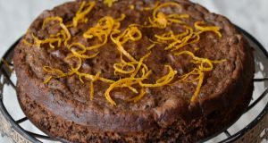 Flourless chocolate and orange mousse cake