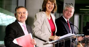 Happier times: Brendan Howlin, Joan Burton and Eamon Gilmore at Labour's manifesto launch in 2011. Photograph: David Sleator